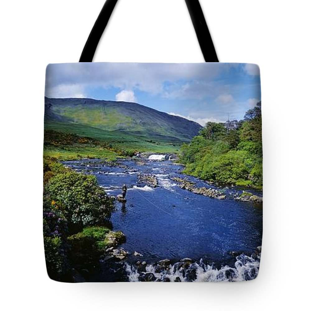 Cloud Tote Bag featuring the photograph High Angle View Of A Waterfall by The Irish Image Collection