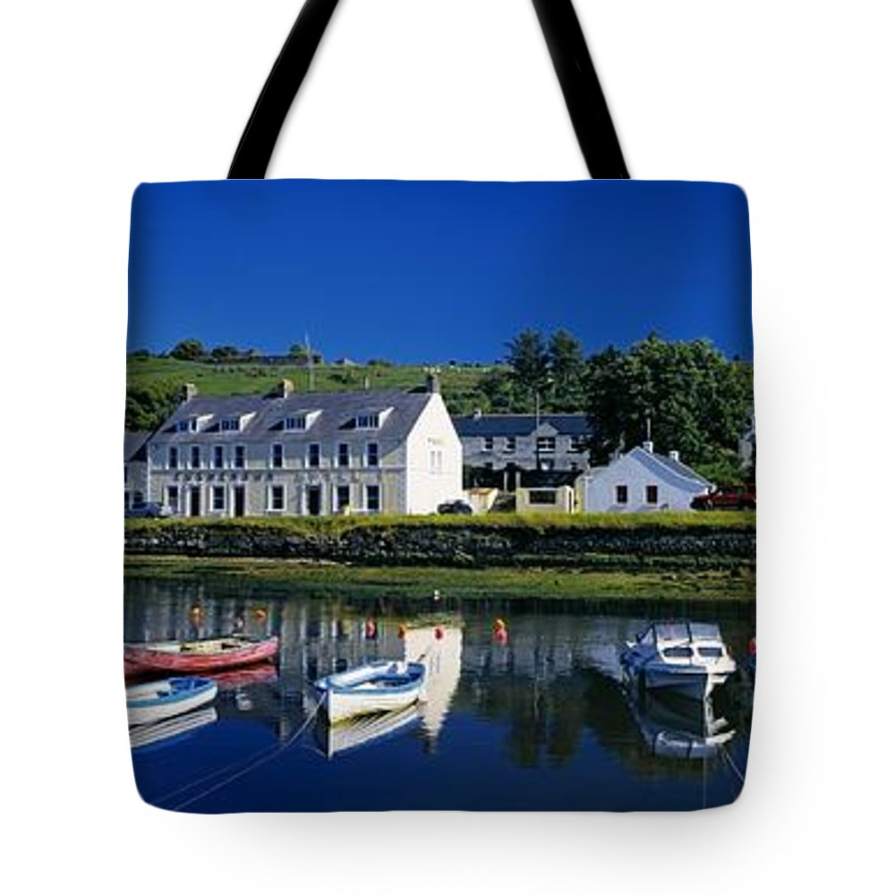 Architecture Tote Bag featuring the photograph High Angle View Of Boats Moored At A by The Irish Image Collection