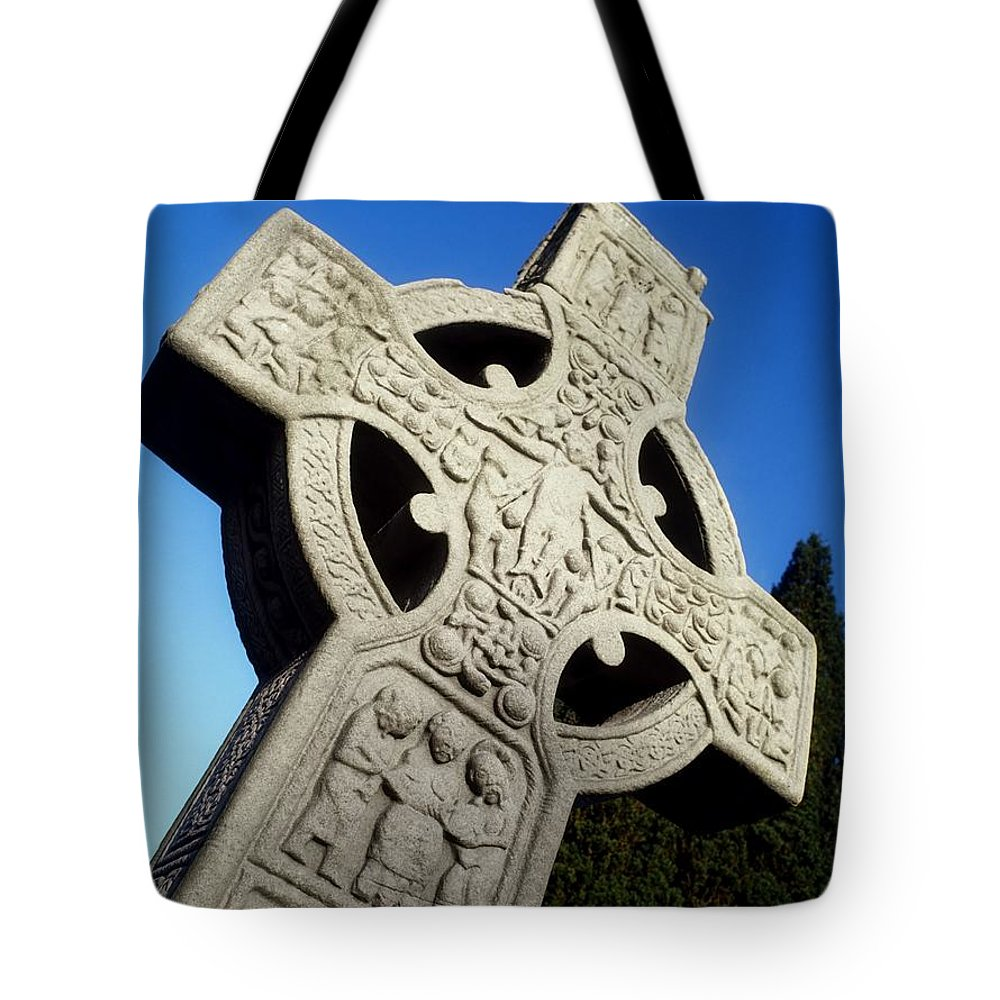 Close Up Tote Bag featuring the photograph High Cross, Monasterboice, Co Louth by The Irish Image Collection