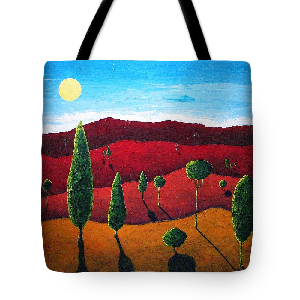 Landscape Tote Bag featuring the painting Hills of Red III by Rollin Kocsis