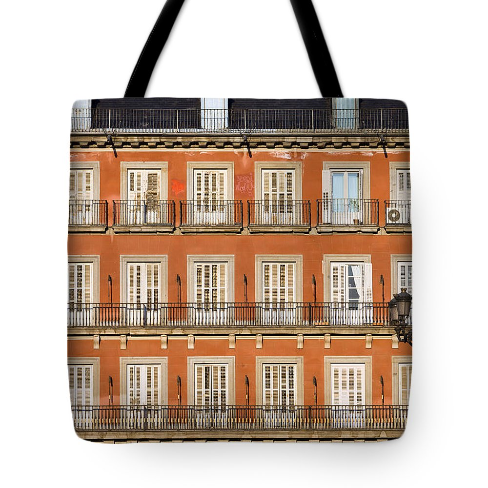 Facade Tote Bag featuring the photograph Historic Facade At Plaza Mayor In Madrid by Artur Bogacki