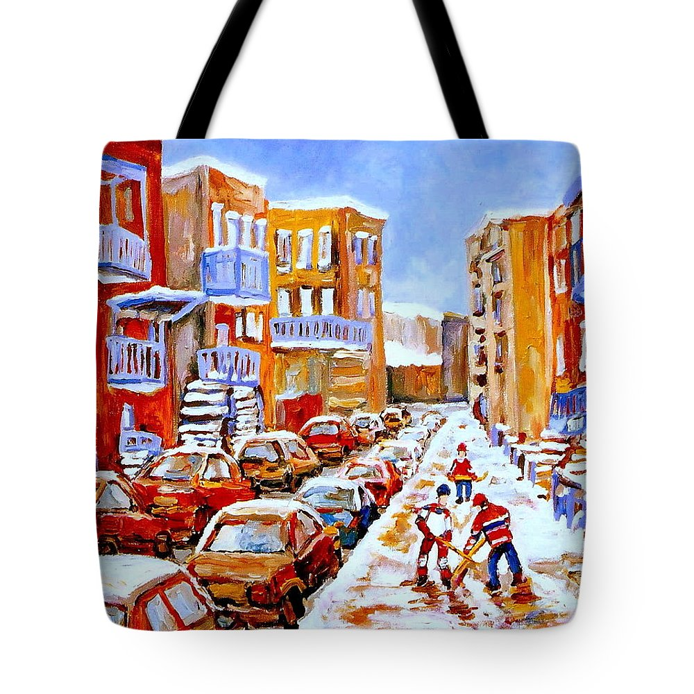 Hockey Art Tote Bag featuring the painting Hockey Art Streets Of Montreal Hockey Paintings by Carole Spandau