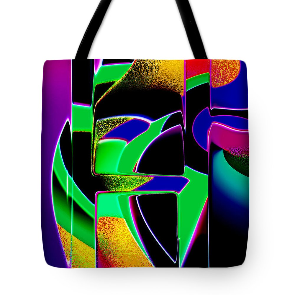 Abstract Tote Bag featuring the digital art Hold On by Tom Hubbard