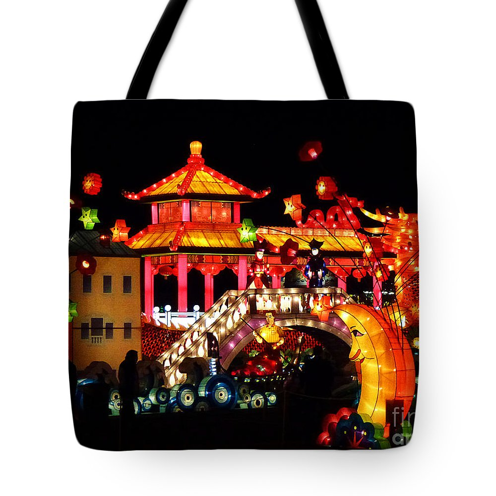 Asia Tote Bag featuring the photograph Holiday Lights 9 by Xueling Zou