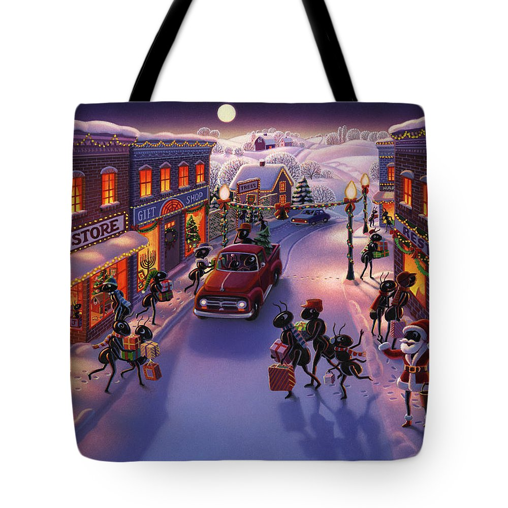 Ants Tote Bag featuring the painting Holiday Shopper Ants by Robin Moline