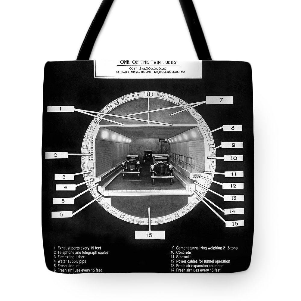 1920's Tote Bag featuring the photograph Holland Tunnel Section View by Underwood Archives