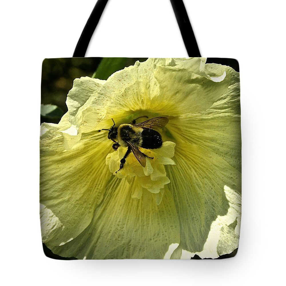 Flower Tote Bag featuring the photograph Hollyhock Collecter by Susan Herber