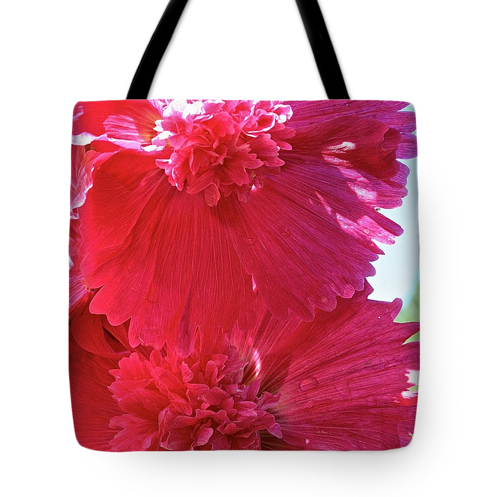Flower Tote Bag featuring the photograph Hollyhock Duet by Susan Herber