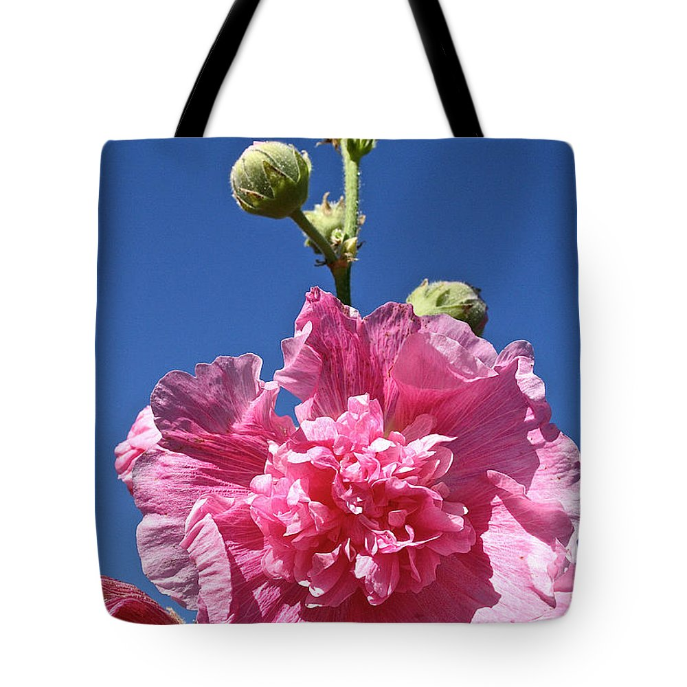 Flower Tote Bag featuring the photograph Hollyhock Ruffles by Susan Herber