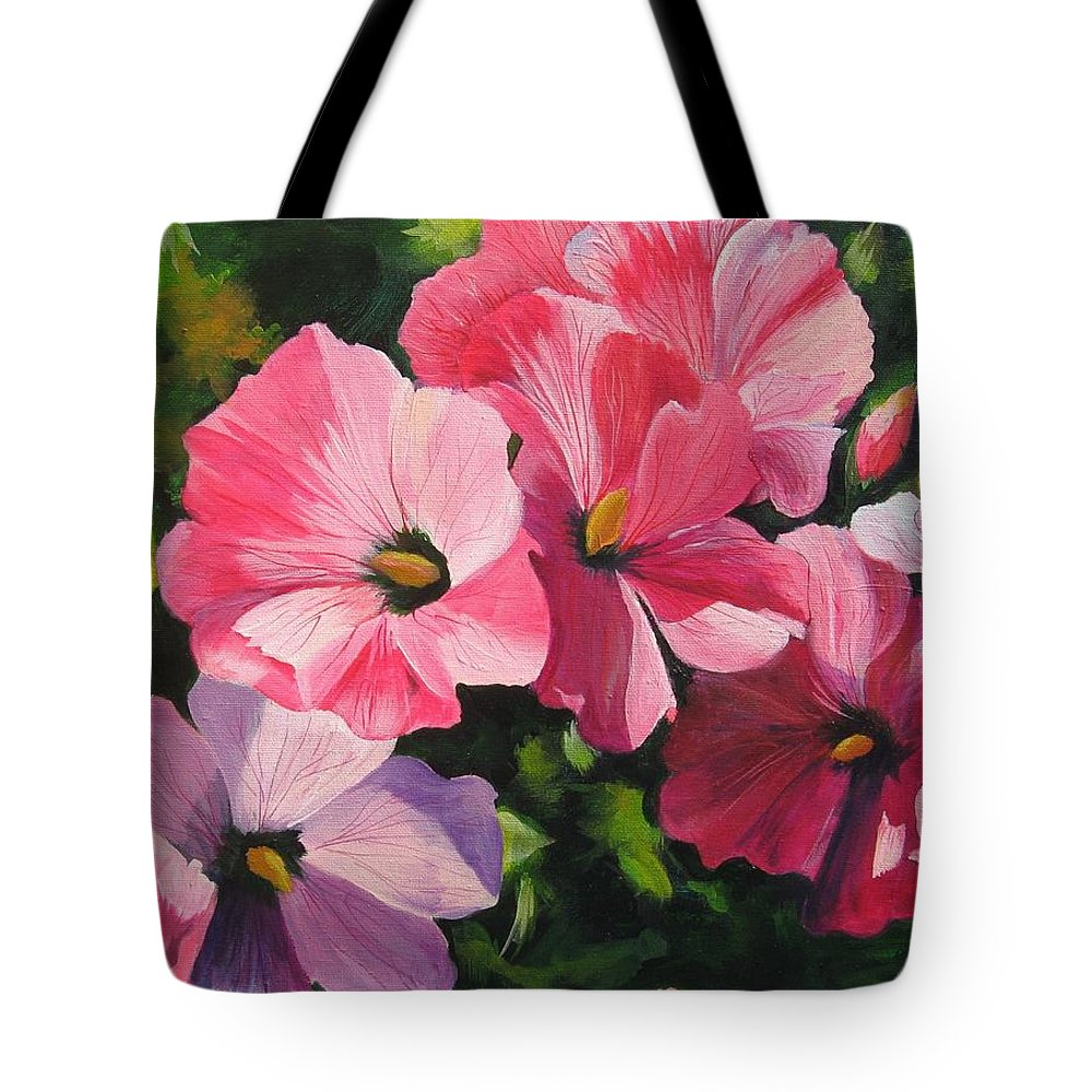 Flowers Tote Bag featuring the painting Hollyhocks In The Sunshine by Melody Horton Karandjeff