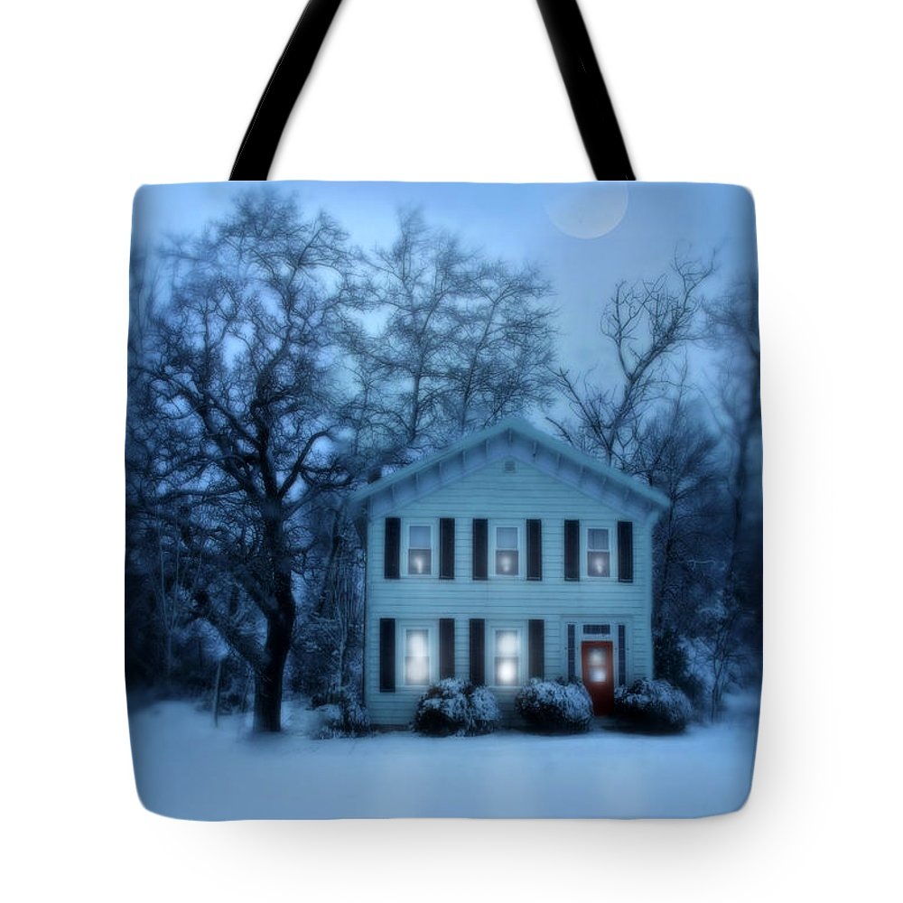Home Tote Bag featuring the photograph Home On A Wintery Evening by Jill Battaglia