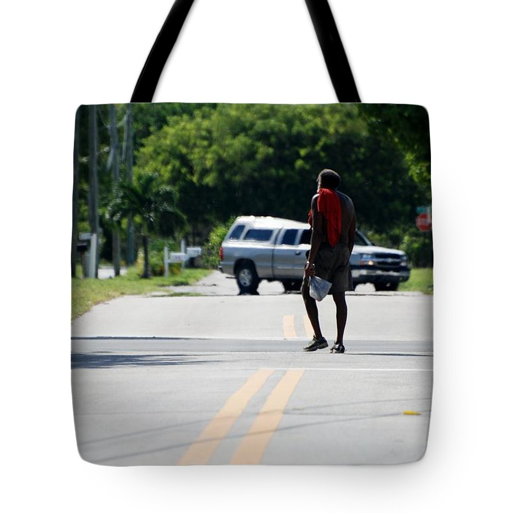 Blue Tote Bag featuring the photograph Homeless by Rob Hans