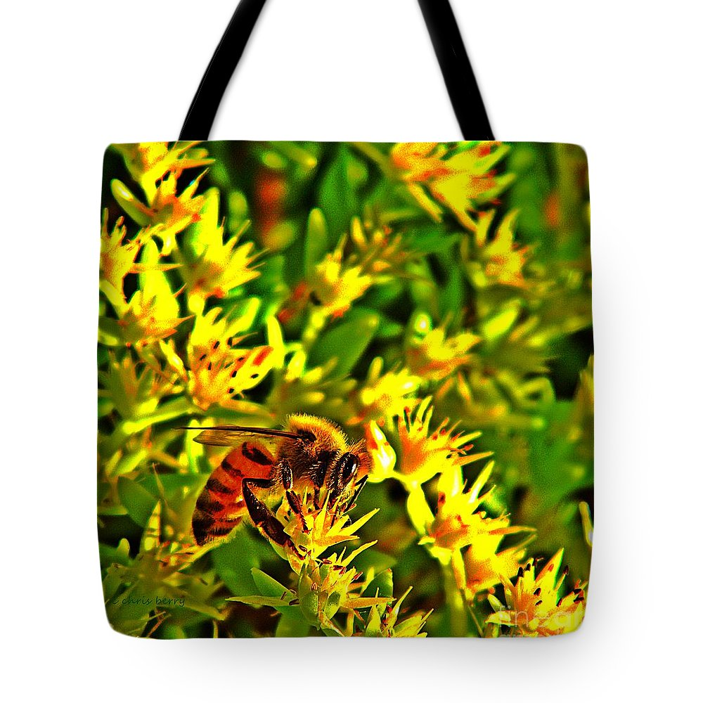 Nature Tote Bag featuring the photograph Honey Bee And Sedum by Chris Berry
