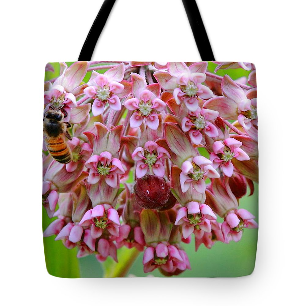 Bee Tote Bag featuring the photograph Honeybee On Milkweed by Bruce J Robinson