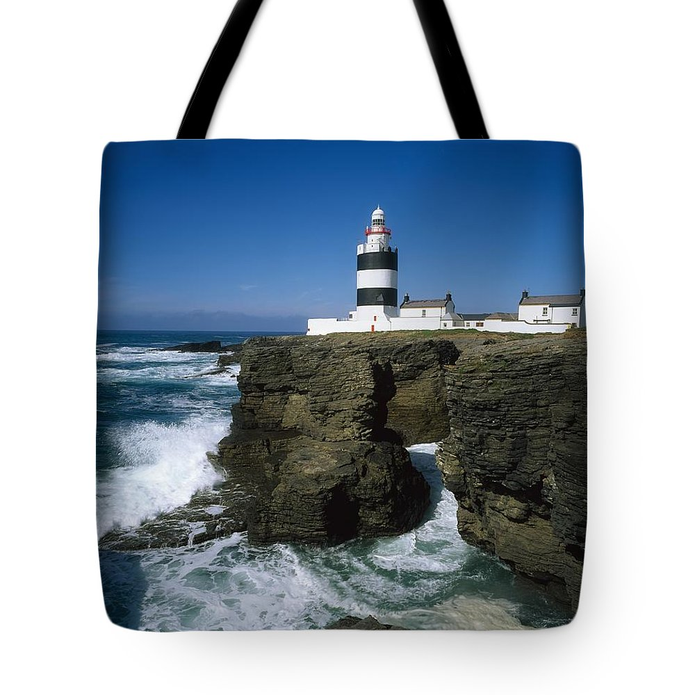 Black & White Tote Bag featuring the photograph Hook Head Lighthouse, Co Wexford by The Irish Image Collection