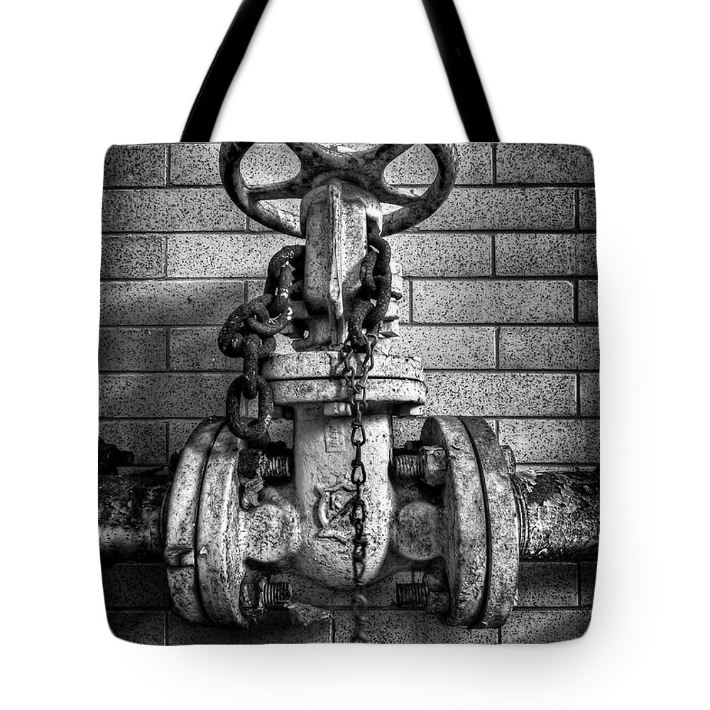 Metal Tote Bag featuring the photograph Hooked On Metal by Evelina Kremsdorf