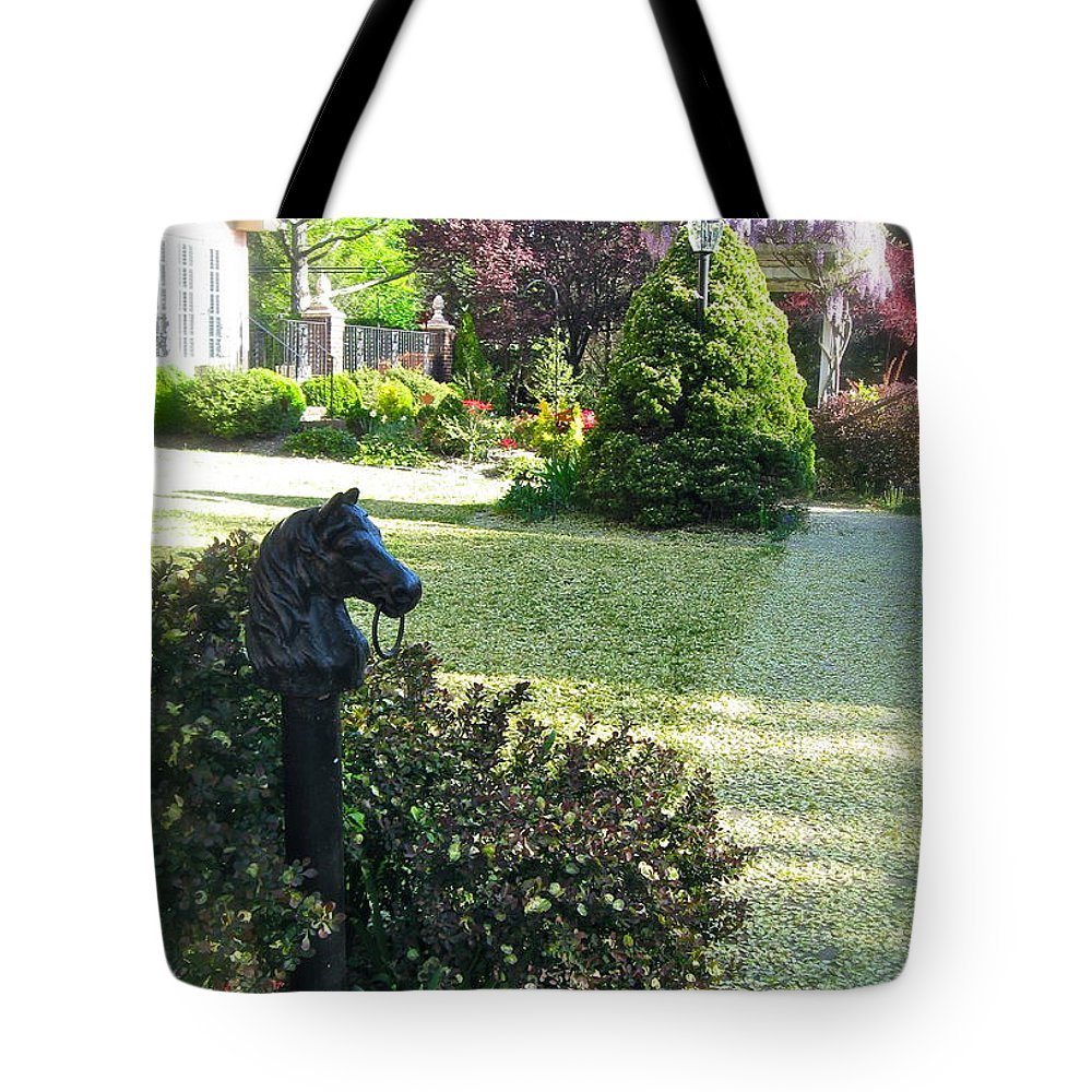 Horse Head Hitching Post Tote Bag featuring the photograph Horse Hitching Post 3 by Nancy Patterson