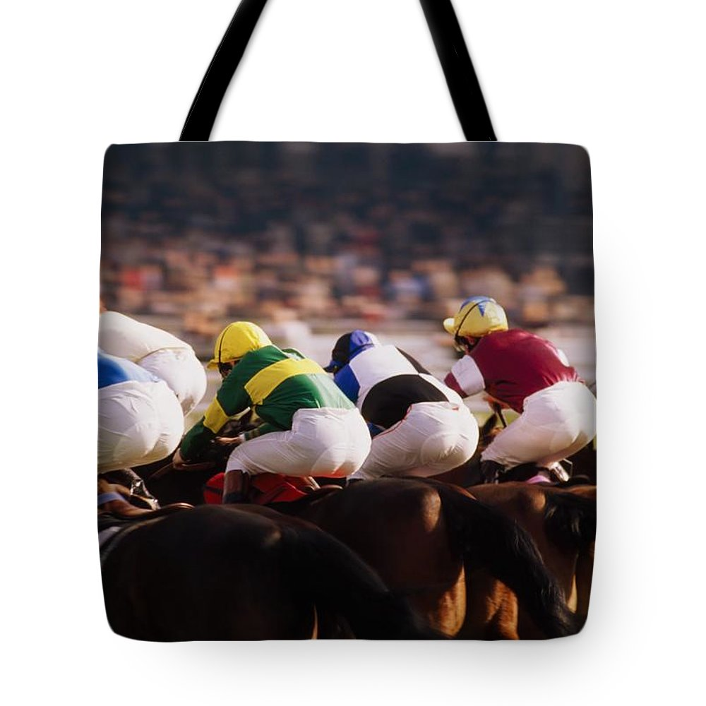 Background People Tote Bag featuring the photograph Horse Racing, Phoenix Park, Dublin by The Irish Image Collection