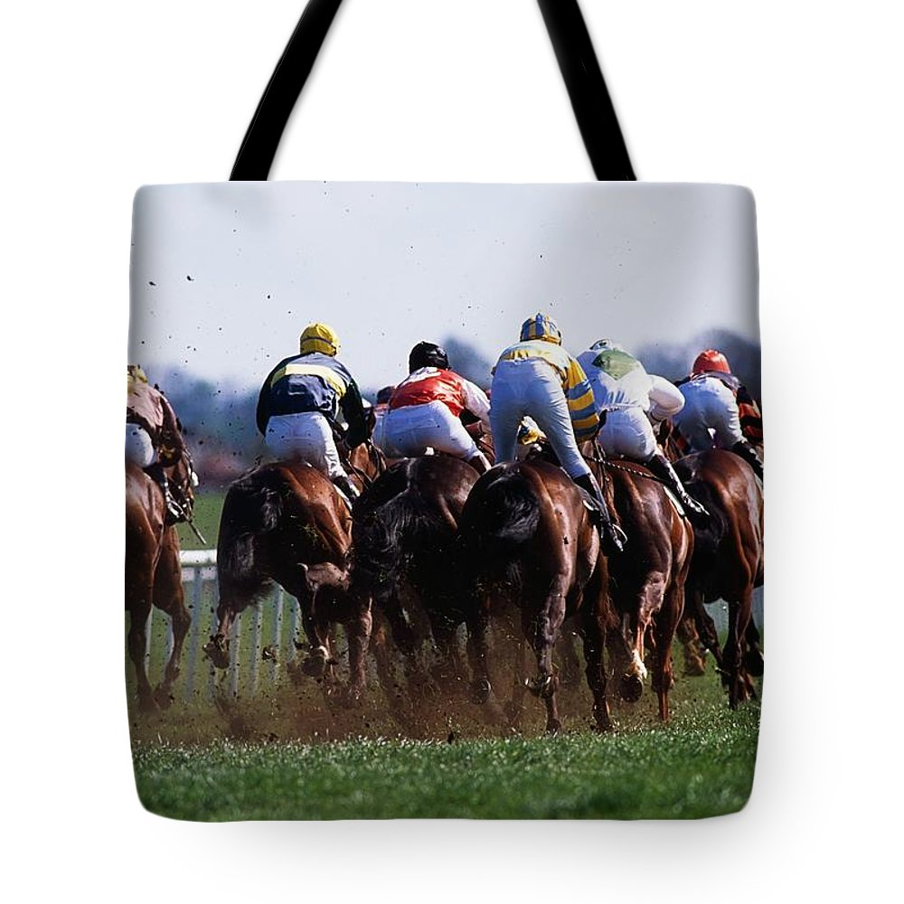 Outdoors Tote Bag featuring the photograph Horse Racing Rear View Of Horses Racing by The Irish Image Collection