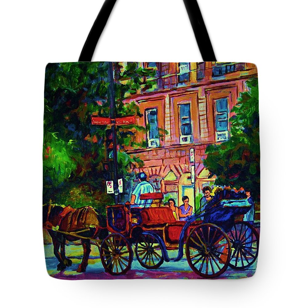 Rue Notre Dame Tote Bag featuring the painting Horsedrawn Carriage by Carole Spandau