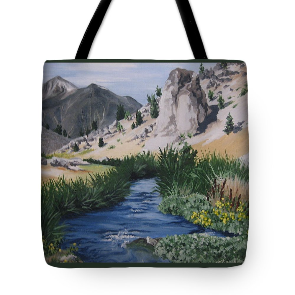 Hwy 395 Tote Bag featuring the painting Hot Creek by Barbara Prestridge