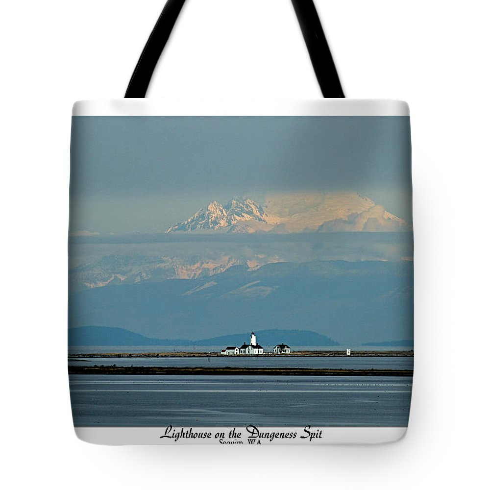 Lighthouse Tote Bag featuring the photograph Dungeness Spit Lighthouse - Mt. Baker - Washington by Marie Jamieson