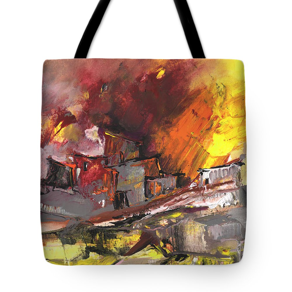 Impressionism Tote Bag featuring the painting Houses In Fire by Miki De Goodaboom