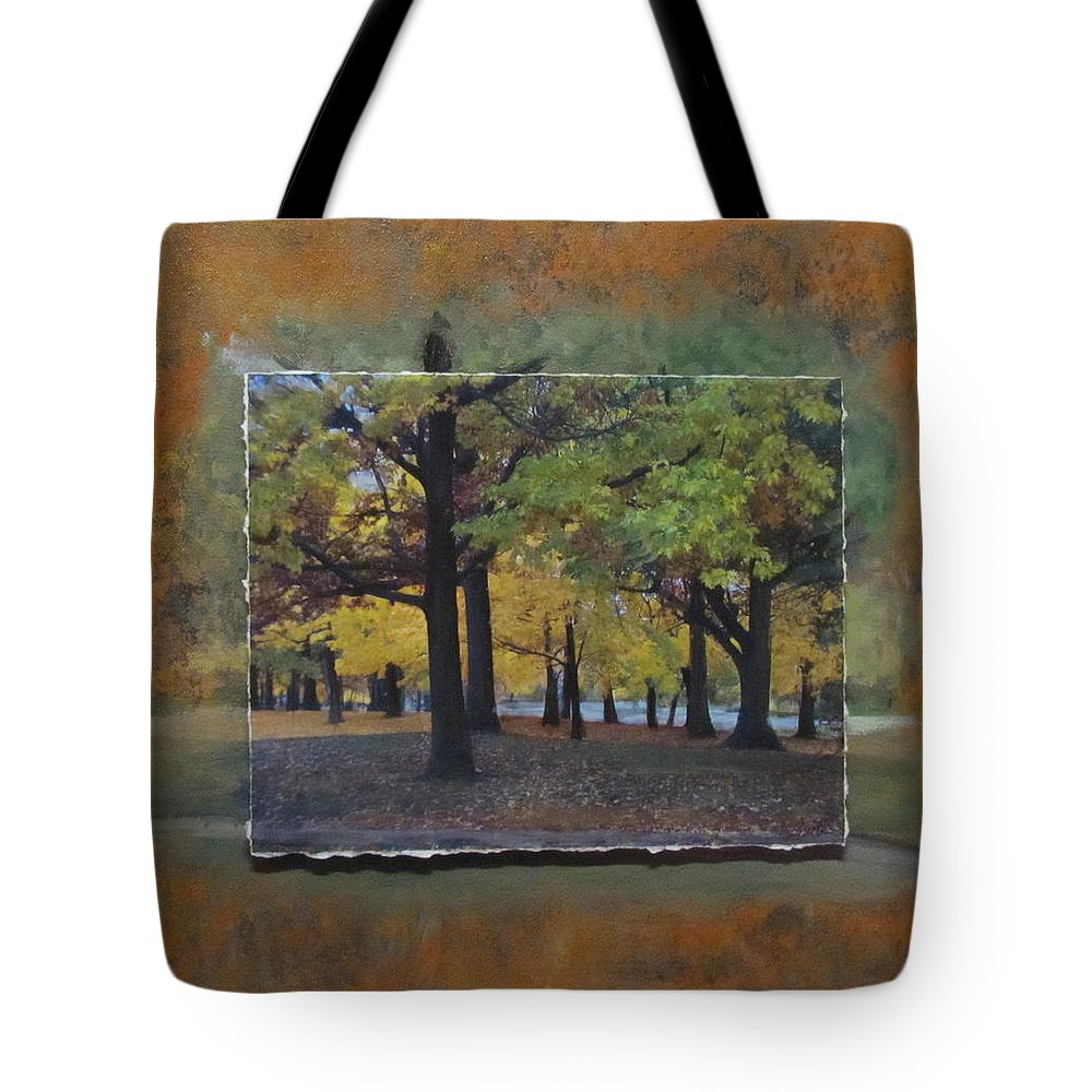 Park Tote Bag featuring the mixed media Humboldt Park Trees Layered by Anita Burgermeister
