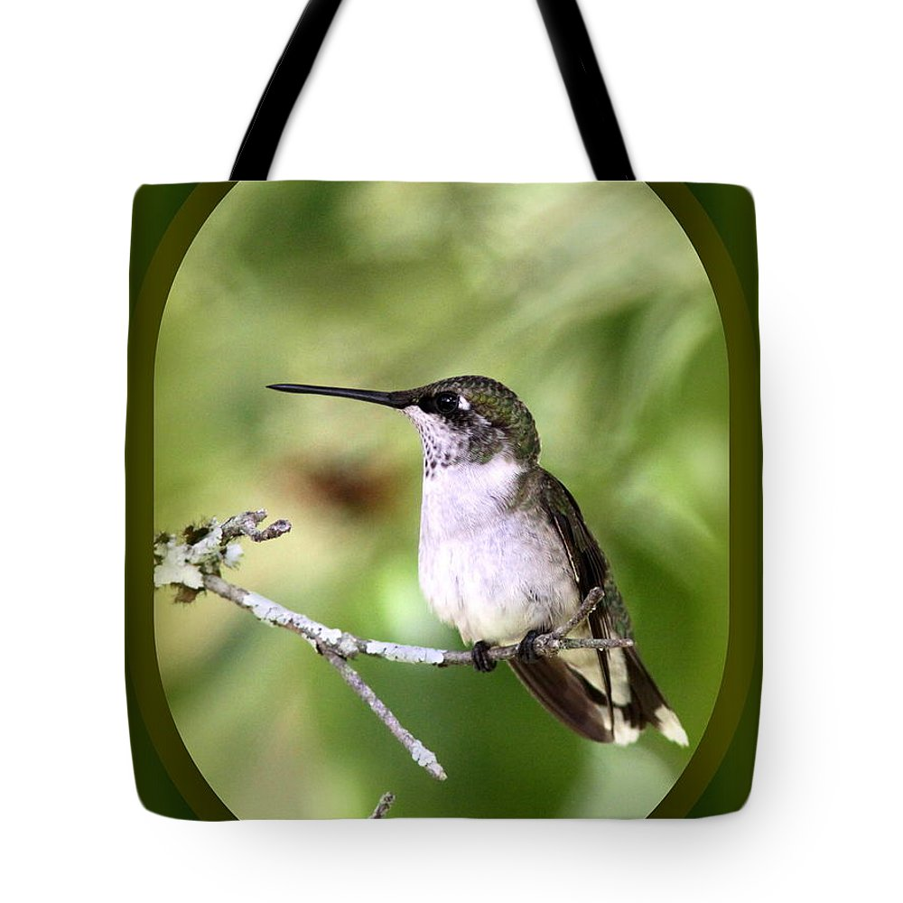Hummingbird Tote Bag featuring the photograph Hummingbird - Gold And Green by Travis Truelove