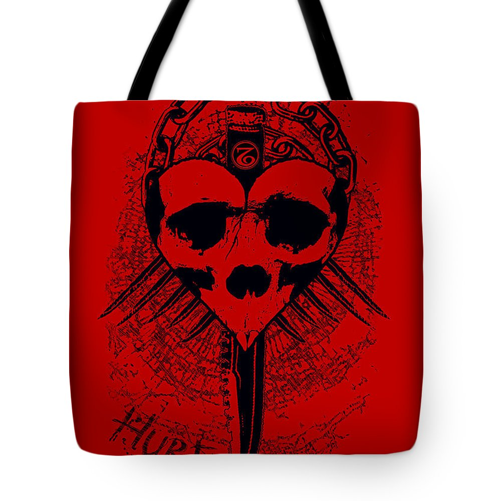 Knife Tote Bag featuring the mixed media Hurt by Tony Koehl