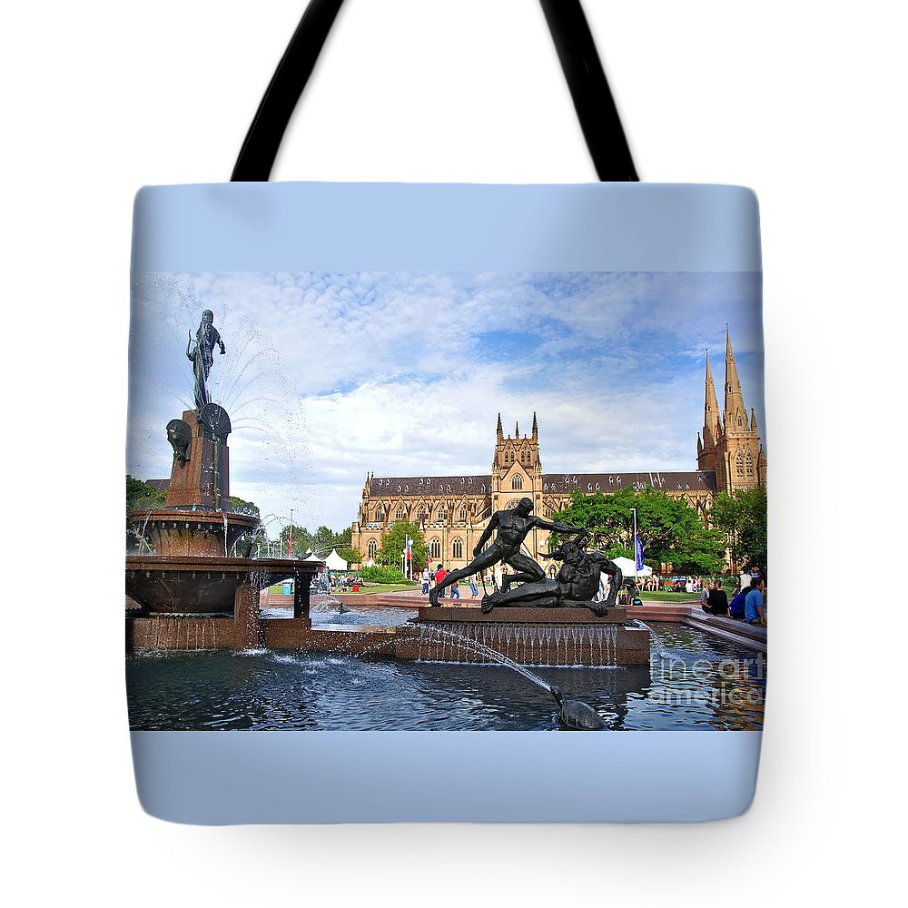 Photography Tote Bag featuring the photograph Hyde Park Fountain And St. Mary's Cathedral by Kaye Menner