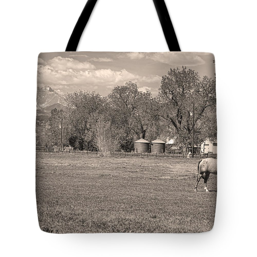 Sepia Tote Bag featuring the photograph Hygiene Colorado Boulder County Scenic View Sepia by James BO Insogna