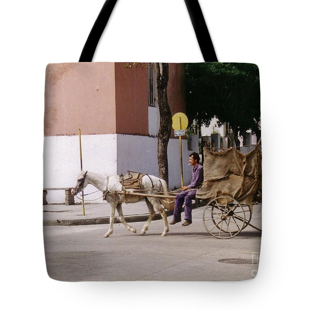 Horse And Cart Tote Bag featuring the photograph I Am My Own Boss by John Malone