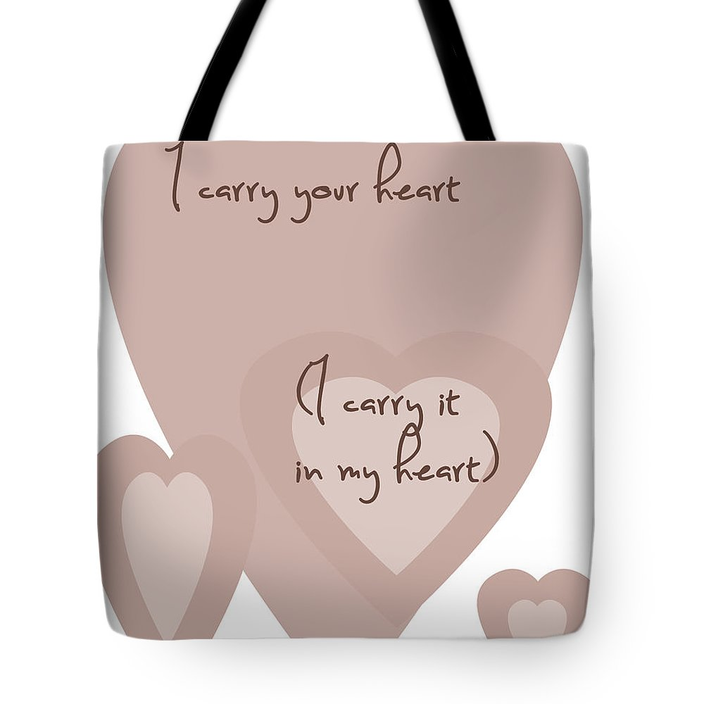 I Carry Your Heart Tote Bag featuring the digital art I Carry Your Heart I Carry It In My Heart - Dusky Pinks by Georgia Fowler