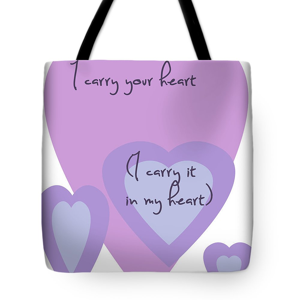 I Carry Your Heart Tote Bag featuring the digital art I Carry Your Heart I Carry It In My Heart - Lilac Purples by Georgia Fowler