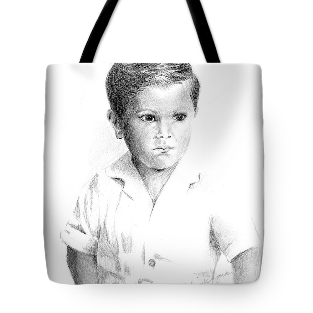 Boy Tote Bag featuring the drawing I Don't Want My Picture Taken... by Suzanne Blender