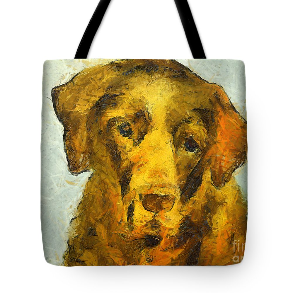 Old Brown Labrador Tote Bag featuring the painting I Know I Am Old by Dragica Micki Fortuna