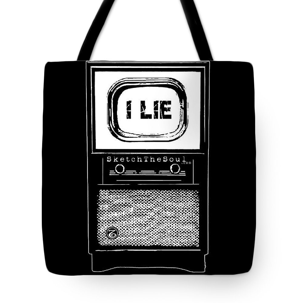 Tv Tote Bag featuring the mixed media I Lie by Tony Koehl