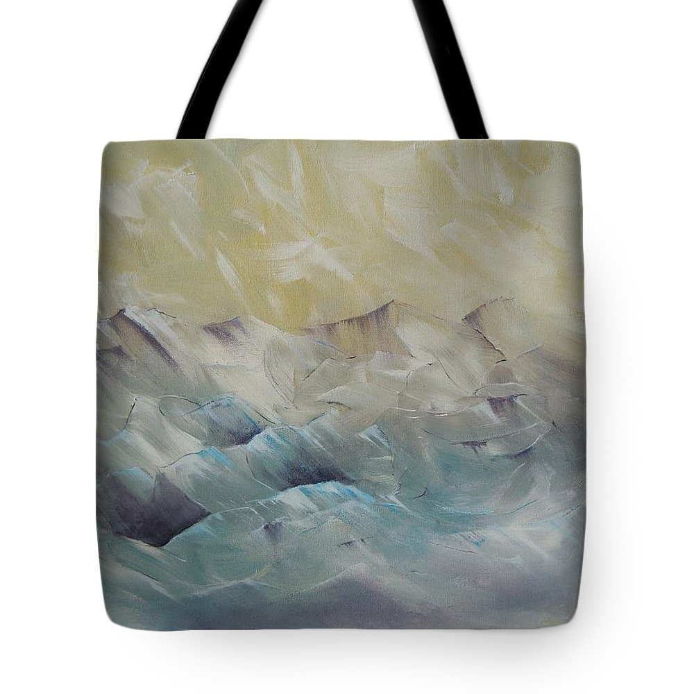 Abstract Mountains Tote Bag featuring the painting I Like It When It's Cold by Dan Whittemore