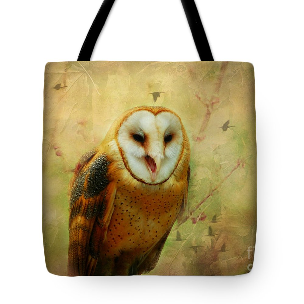 Tote Bag featuring the photograph I Will Make You Smile Owl by Peggy Franz