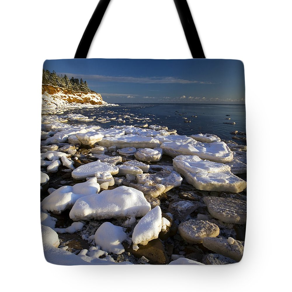 Chilly Tote Bag featuring the photograph Ice Pieces, Cape Turner, Prince Edward by John Sylvester