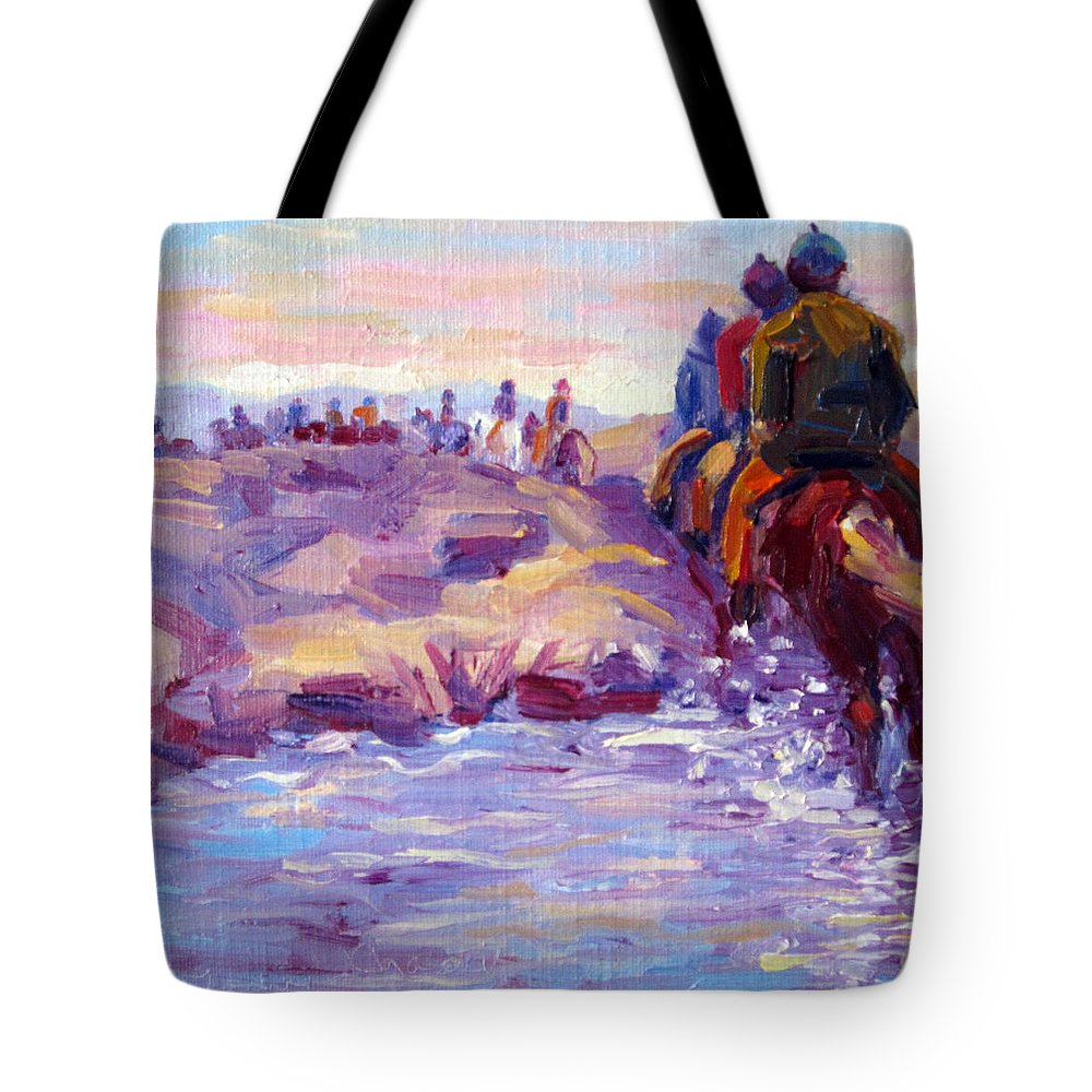 Iceland Tote Bag featuring the painting Icelandic Horse Trail Ride by Terry Chacon