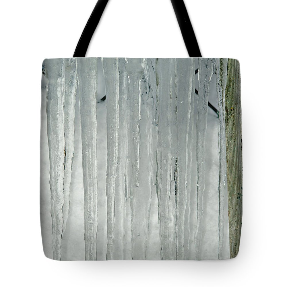 Icicles Tote Bag featuring the photograph Icicles by Randy Harris
