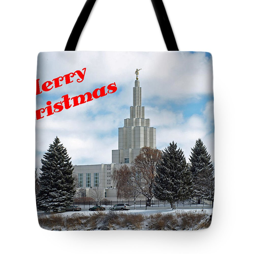Temple Tote Bag featuring the photograph If Temple Christmsa Card 1 by DeeLon Merritt