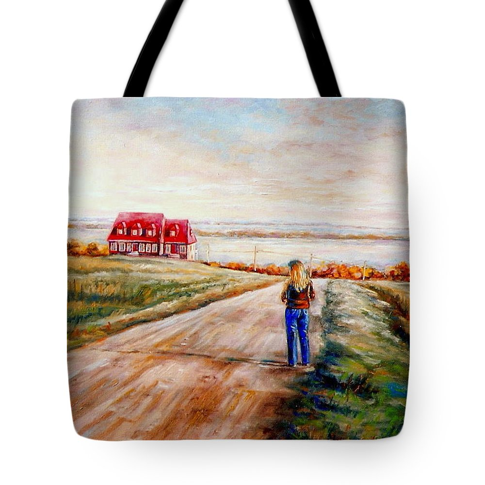Quebec Tote Bag featuring the painting Ile D'orleans Road To The Red Gabled House Quebec Maritime Landscape by Carole Spandau