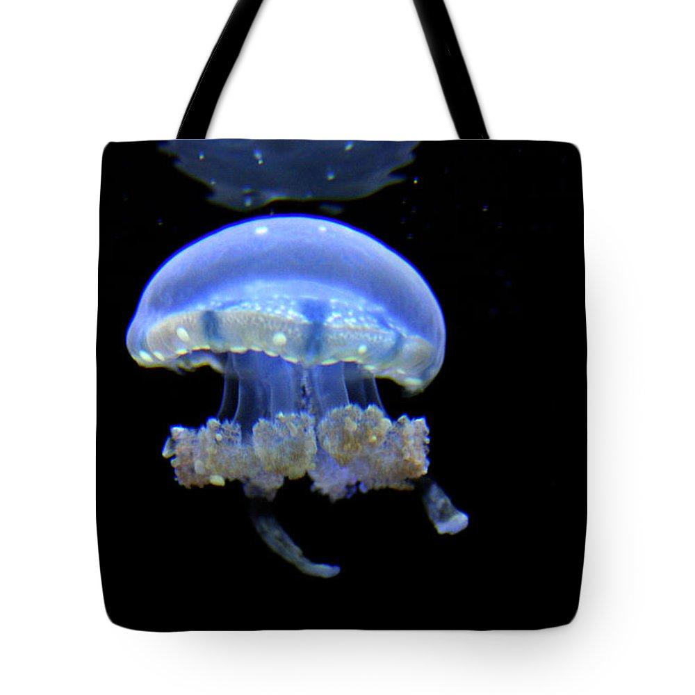 Jennifer Bright Art Tote Bag featuring the photograph Illuminated Jellyfish by Jennifer Bright