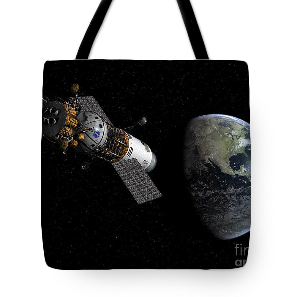 Space Exploration Tote Bag featuring the digital art Illustration Of A Lunar Tug Propelling by Walter Myers