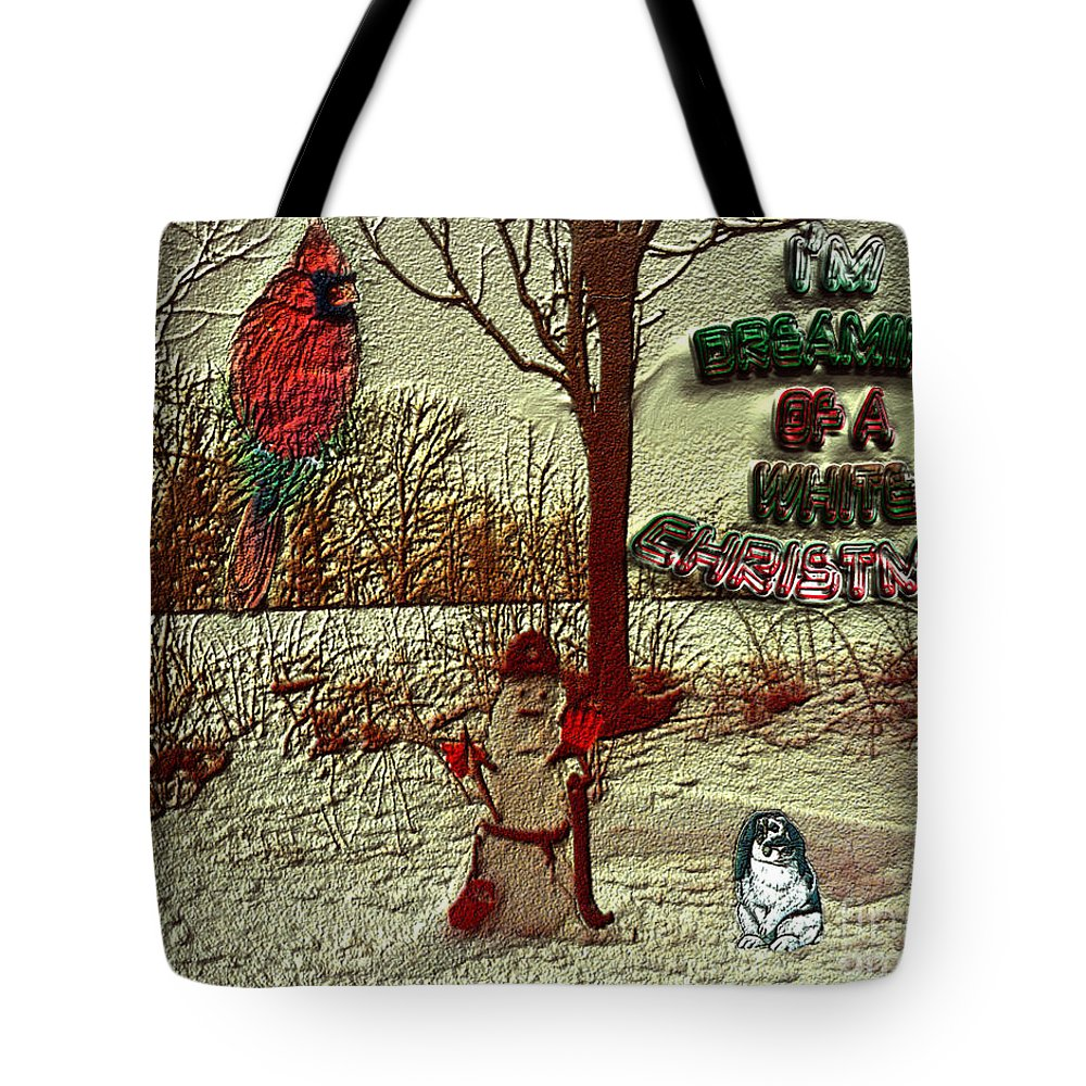 Bird Tote Bag featuring the photograph I'm Dreaming Of White Christmas by Donna Brown