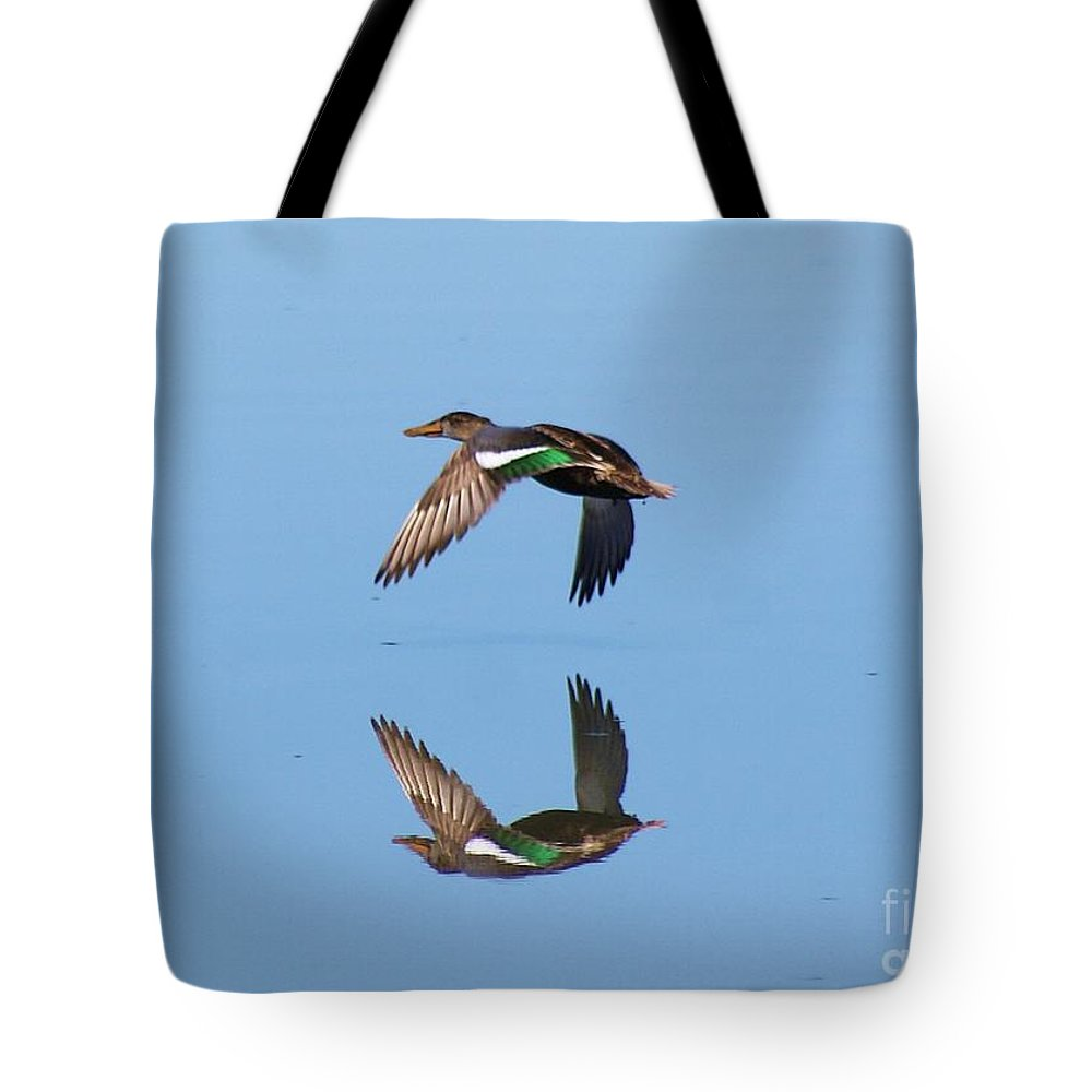 Duck Tote Bag featuring the photograph Immaculate Reflection by John Kolenberg