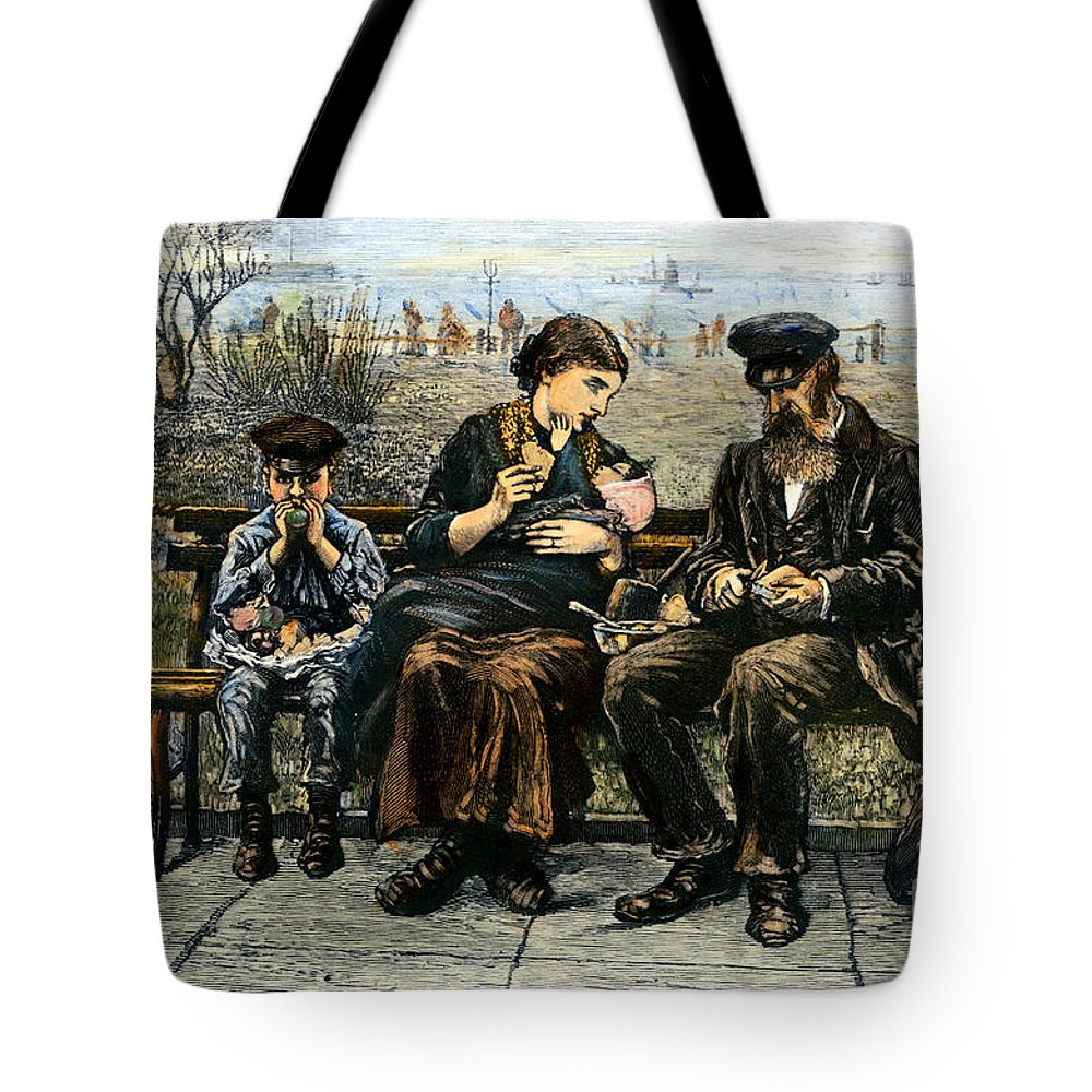 1884 Tote Bag featuring the photograph Immigrants: Castle Garden by Granger